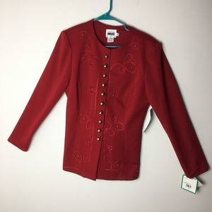 Leslie Fay Button Down Blazer Red Size 10 vintage